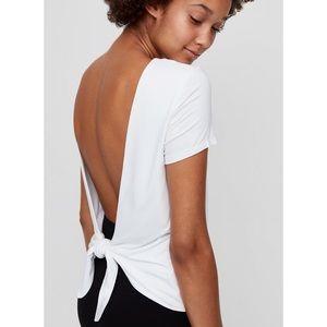 White Babaton open back/ tie back short sleeve top